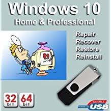 Windows 10 64-bit Home + Professional Edition Recovery Reinstall Repair Recovery Fix USB WINDOWS 10 Home & Pro Repair, Recovery, Restore, Re-install & Reboot Fix USB Free Messaging Tech Support