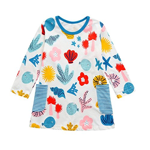 Amanod 2018 Toddler Baby Kid Girl Long Sleeves Pattern Dress Outfit Clothes