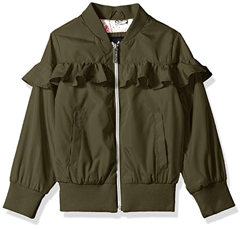 Transitional Olive Green - Limited Too Girls' Little Nylon Bomber with Ruffle, Olive, 5/6