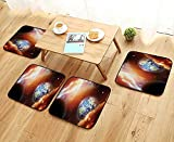 Printsonne Home Chair Set Cloud Nebula Stars in Solar System e with PlanEarth Pluto and Neptune Machine-Washable W21.5 x L21.5/4PCS Set