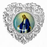 Silver Miraculous Rosary Box, Our Lady of Grace - Catholic Heart Rosary Box + Lourdes Prayer Card