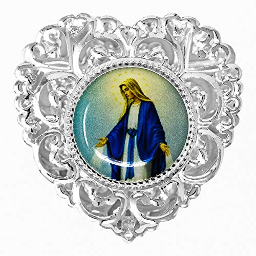 Silver Miraculous Rosary Box, Our Lady of Grace - Catholic Heart Rosary Box + Lourdes Prayer ()