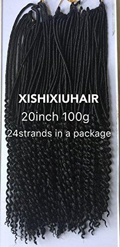 "Beauty : 6Pcs/Lot Crochet Braids Faux Locs Curly Ends 20"" Synthetic crochet braiding hair Extension (Black)"