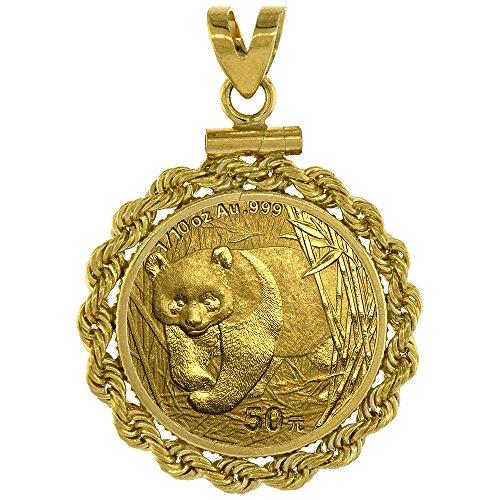 Screw Top Rope (14k Gold 1/10 Gold Panda Bezel Rope 18mm coin Screw Top)