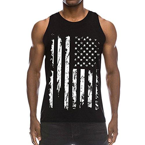 PIZOFF 3D America Flag Print Funny Pattern Realistic Underwaist Gym Tank Tops-AM003-01-XL -