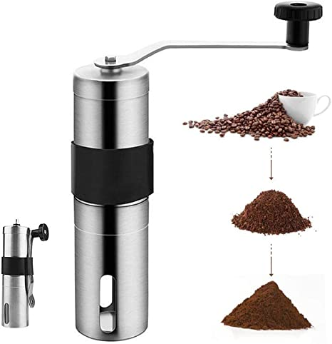 Manual Coffee Bean Grinder with Adjustable Conical Ceramic Burr Stainless Steel Portable Hand Crank Coffee Mill for Camping Travel Office