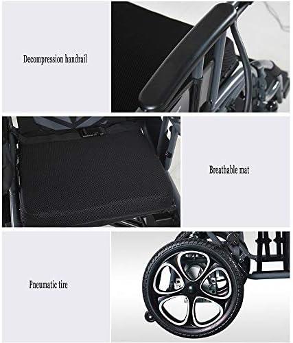 実用的 軽量電動車椅子、折り畳み式と最もコンパクトなパワード車椅子、シート幅45CM、360°ジョイスティック、リムーバブルリチウム電池モビリティChairWeight容量100KG 福祉
