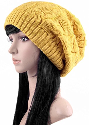 Ls Lady Thick Slouchy Knit Oversized Beanie Cap Hat Winter Warmming Cap (One  Size 6c9fbca5b13d