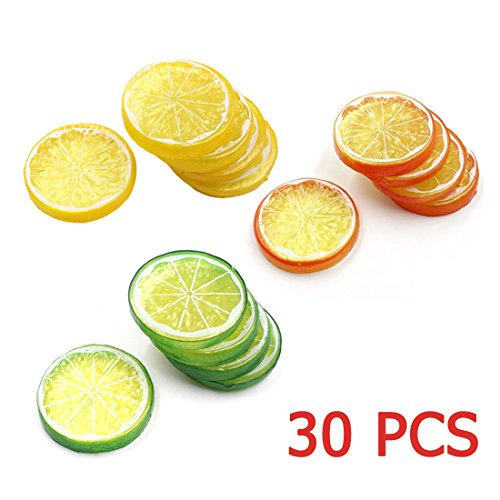 Lorigun 30pcs Fake Lemon Slice Garnish Artificial Fruit Faux Food House Bar Decoration Cocktail Party Arrangement(Red Green Yellow,Each Color 10Pcs) by Lorigun