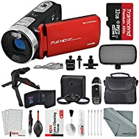 Bell & Howell Fun Flix DV50HD HD Red Video Camera Camcorder Deluxe Bundle. Tripod + LED Light + Case + Video Stabilizer + Filter Kit + Xpix Deluxe Cleaning Kit + More