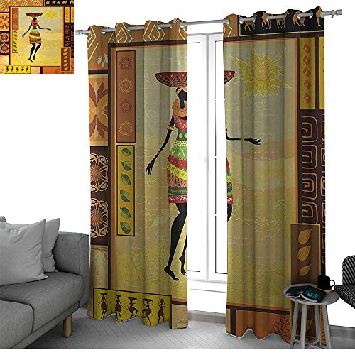 (African Best Home Fashion Wide Width Thermal Insulated Blackout Curtain African Girl Dressed in Ethnic Under Sun Figure Folk Culture Tribal Inspirations Display Black Out Window Curtain)