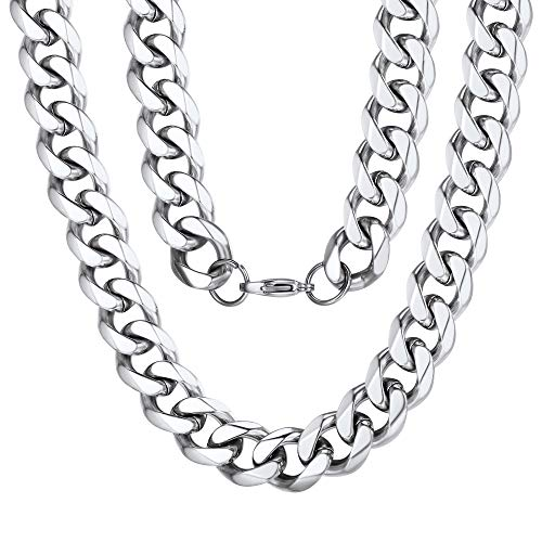 - Curb Necklace 12mm 28inch Stainless Steel Mens Metal Heavy Cuban Link Chain