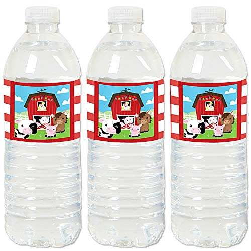 Bottle Farms - Farm Animals - Barnyard Baby Shower or Birthday Party Water Bottle Sticker Labels - Set of 20