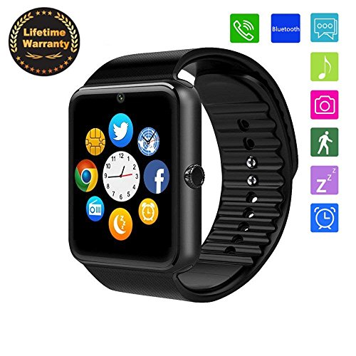 Smartwatch Bluetooth Smart Watch Smart Health Wrist Watch with SIM/TF Card Slots Notification Alerts Sport Watch Pedometer Sleep Monitor for Android Samsung IOS Apple iPhone Men Women Teens (Black) by Baoxin