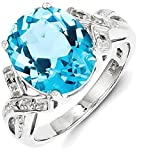 ICE CARATS 925 Sterling Silver Swiss Blue Topaz Diamond Band Ring Size 6.00 Stone Gemstone Fine Jewelry Gift Set For Women Heart