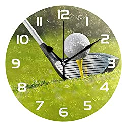 Dozili Sport Golf Ball Decorative Wooden Round Wall Clock Arabic Numerals Design Non Ticking Wall Clock Large for Bedrooms, Living Room, Bathroom