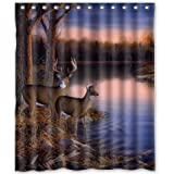 "BravoVision Fashion Custom River Edge Deers Waterproof Fabric Bath Shower Curtain 60"" x 72"""