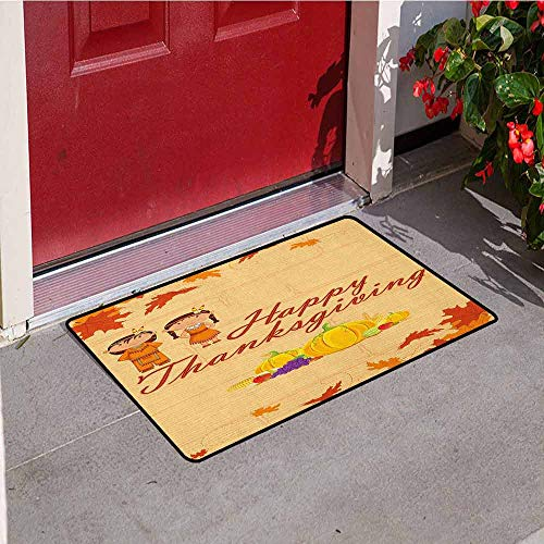 Gloria Johnson Kids Thanksgiving Commercial Grade Entrance mat Children in Native American Costume Preserving Indigenous Heritage for entrances garages patios W31.5 x L47.2 Inch Orange Multicolor -