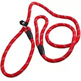 Hosaire Dog Leash Durable Nylon Adjustable Loop Training Lead for Small and Medium Dogs 1.2m Red