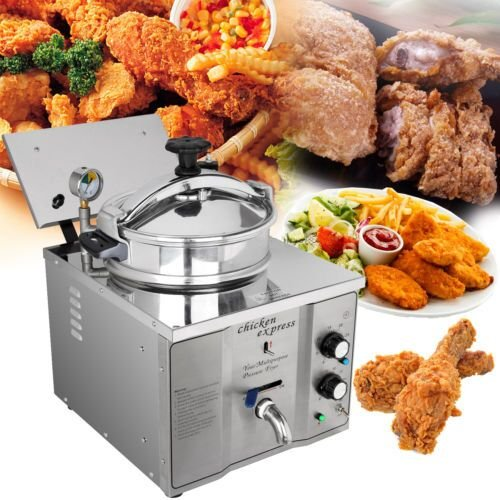 Ambienceo Stainless Steel Commercial Electric Pressure Deep Fryer Fry Frying Machine Countertop Chicken with Drain Tap Lid Basket Pressure Valve Gauge