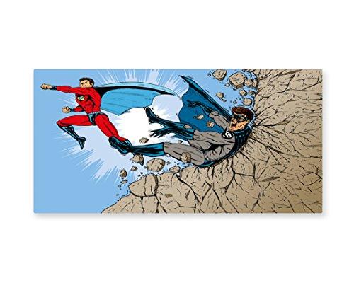 Lunarable Superhero Wall Art, Old School Comic Book Hero and Villain on the Rocks Punching Kicking Cartoon, Gloss Aluminium Modern Metal Artwork for Wall Decor, 23.5 W X 11.6 L (Pictures Of Female Superheroes And Villains)