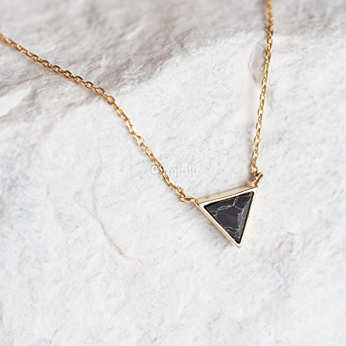 Pendant Inverted Stone (Tiny Inverted Black Simulated Howlite Stone Triangle Necklace)