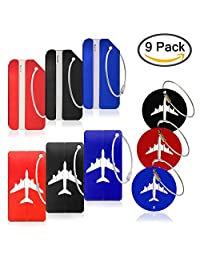 9 Pack Metal Travel Luggage Suitcase Tags, YuCool Aluminum Alloy Trips ID Labels for Baggage Bags, with Key Rings- 3 Types - Red, Blue, Black