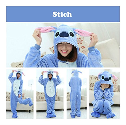 US Stitch Kigurumi Pajamas Anime Cosplay Costume Unisex Adult Outfit Sleepwear (M (163-170CM)) from Unknown