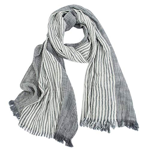 GERINLY Cotton-Linen Scarves Mens Stripe Crinkle Long Scarf (Gray)
