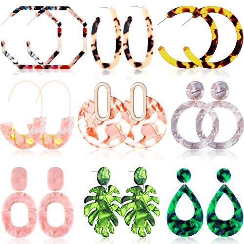 9 Pairs Mottled Acrylic Hoop Earrings Resin Stud Earrings Bohemian Statement Stud Drop Dangle Earrings Jewelry for Women Girl (Style Set 2)