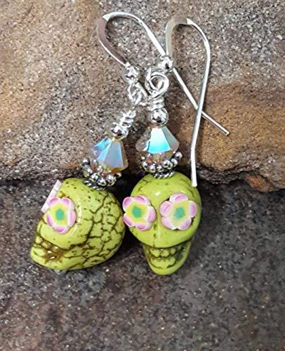 (Sugar Skull Halloween Earrings Sterling Silver Day of the Dead Green & Pink)