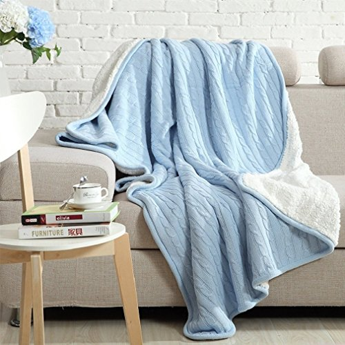 LakeMono Eco-friendly Crochet Cable Blanket Super Soft Warm Knitted Throw Cover bed quilt Rug for Living Room/Car/Bedroom/Sofa/Bed/Couch/Office Adult and Kids Resting Relaxing (47×70 Inches, Blue)