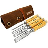 Professional Wood Chisel Set with Tools Roll Bag – Carving & Woodworking Equipment with Chrome Vanadium Steel Blades & Ergonomic hardwood Handles – Sizes 6mm