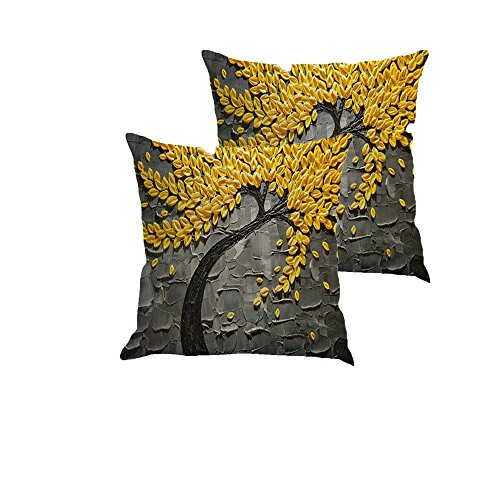 MHB Oil Painting Black Large Tree and Yellow Flower Linen Throw Pillow Covers18 x18 Inch Pack of 2 (Black) (Yellow And Black Pillows)