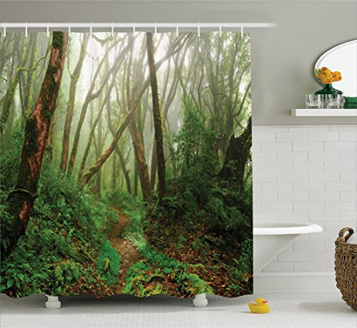 Ambesonne Farm House Decor Shower Curtain Set, Spooky Tropical Exotic Fog Jungle In Rainforest In Nepal Asian Climate Picture Print, Bathroom Accessories, 69W X 70L Inches, Green (Spooky Photo)