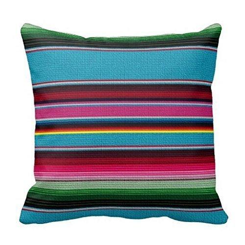 Dutch - Funda de cojín con diseño de la Manta Mexicana de Lino y algodón, 45,7 x 45,7 cm