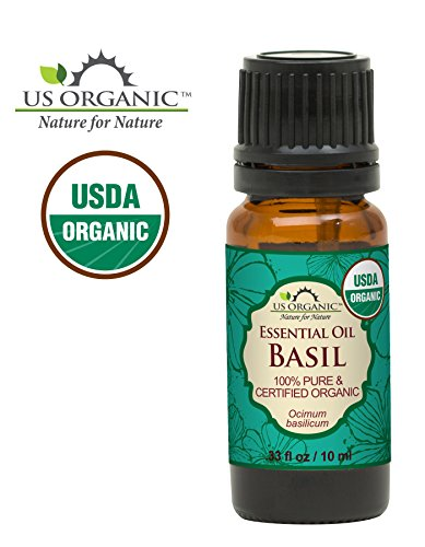 US Organic 100% Pure Basil Essential Oil - USDA Certified Organic, Steam Distilled W/ Euro droppers (More Size Variations Available) (10 ml / .33 fl oz)