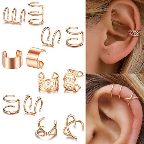SOVSEFD 12 PCS Ear Cuff Earrings Non Piercing Ear Hoop Earrings Stainless Steel Clip On Cartilage Earring Huggie Dainty Minimal Crossed Conch Sparkling Piercing for Women Men Girls Piercing (Silver)
