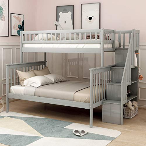 Twin Over Full Bunk Bed, Hinpia Solid Wood Bed Frame with Stairway, Safety Guard Rail and Storage, Convertible to 2 Separated Beds, Perfect for Kids, Teens, Boys and Girls (Gray)