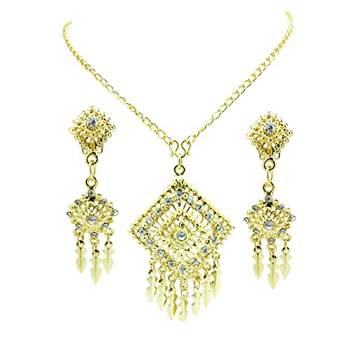 [Siwalai Thai Traditional Gold Plated Clear Crystals Necklace Earrings Jewelry Set 24 Inches] (Thai Dance Costume)