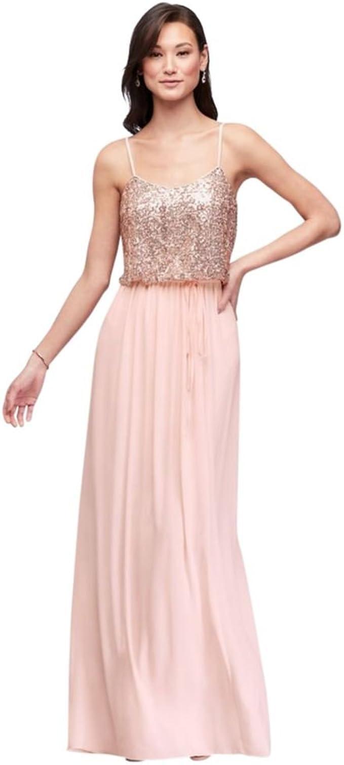 David S Bridal Long Sequin Blouson Bridesmaid Dress Style