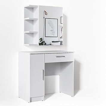 Schminktisch weiß  VICCO Schminktisch Fynnia Weiß Kosmetiktisch Frisierkommode Frisiertisch  Spiegel +++ MIT AUFKLAPPBAREN SPIEGELSCHRANK +++