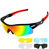 Polarized Sports Sunglasses,CrazyFire UV 400 Protection Unbreakable Sports Glasses with 5 Set of Interchangeable Lens, Sport Eye Protective Glasses for Men and Women in Cycling Skiing Fishing Golfing