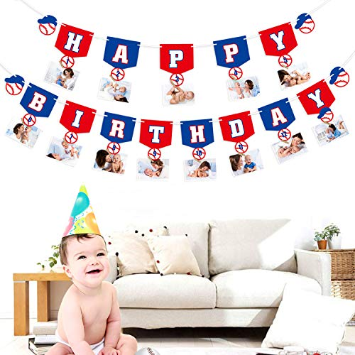 Baseball Happy Birthday Banner, 1st Birthday Monthly Photo Banner My Rookie Year Banner for First Birthday Party Decorations Birthday Souvenir and Gifts For Baby Shower Party Supplies(With 15 Wooden Photo -