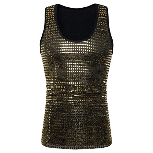 Fashion Mens Tank Tops Charm Sequined Blazer Hiphop Show Stage Party Wear Vest Gold
