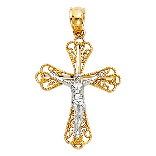 14k Two Tone Gold Religious Crucifix Pendant