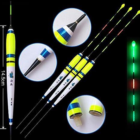 Shadowless en agua flotadores de pesca 1 – 3 # eléctrico luz nocturna luminoso flotador enviar CR425 recargable amarillo/blanco pesca bobber (Pack de 3): Amazon.es: Deportes y aire libre