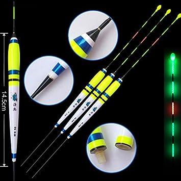 Shadowless en agua flotadores de pesca 1 - 3 # eléctrico luz nocturna luminoso flotador enviar CR425 recargable amarillo/blanco pesca bobber (Pack de 3): ...