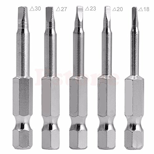 Drill Warehouse 5 Pieces in One Set Magnetic Triangle Head Screwdriver Bits S2 Steel 1/4 Hex Shank (Steel Screwdriver Bit)
