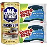 Bar Keepers Friend Cleanser & Polish 12 oz.Can With 2 Scotch Brite Non Scratch Sponges Multipurpose Cleaner